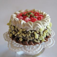 Chocolate Cake with Strawberries Ring on a Lace Doily