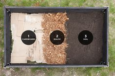 Raised Garden Bed Layers // The Fresh Exchange (cardboard, mulch, soil) And Clyde oak raised bed kit Raised Vegetable Gardens, Veg Garden, Garden Soil, Lawn And Garden, Garden Landscaping, Raised Garden Bed Soil, Vegetable Gardening, Diy Garden Bed, Raised Bed Diy