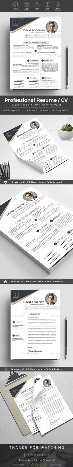 #Resume - Resumes #Stationery Download here: https://graphicriver.net/item/resume/19243559?ref=alena994ref=alena994