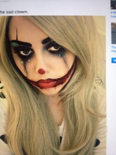 #halloween #halloween-ideas #halloweenmakeup #makeup #gorgeous #jester #smiley…