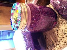 Time out jar,shake the jar when all the glitter and jewels fall to the bottom, time out is over,this works for adults also!