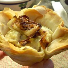 Faux Farmer's Cheese and Caramelized Onion Filo Cups | Made Just Right by Earth Balance #vegan #plantbased #earthbalance #recipe #cheeze