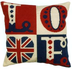 Love Letters Cushion Kit Anchor Needlepoint Tapestry Kit Kit contains: full colour printed 12 count canvas, Anchor Tapisserie Wool, Needlepoint Pillows, Needlepoint Kits, Needlepoint Canvases, Cross Stitch Kits, Cross Stitch Patterns, Union Jack Bedroom, Union Jack Cushions, British Decor, Letter Cushion