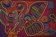 """Kuna Abstract Mola Hand Stitched Applique Art Bird caught Fish 19"""" Large 127B Collected in the field asmatcollection on ebay.com and bonanza.com cheetahdmr@aol.com if you have any questions."""
