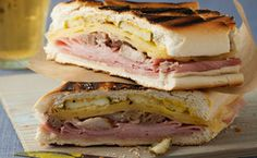 Grilled Cuban Sandwich ( Sandwich Cubano ) Recipe on Snooth Eats Sandwich Cubano, Kubanisches Sandwich, Soup And Sandwich, Cuban Pork Sandwich, Hot Sandwich Recipes, Cuban Bread, Grilled Sandwich, Italian Bread, Gastronomia