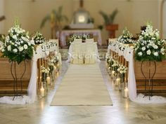 Choosing The Flower Arrangements For Church Wedding Wedding Church Aisle, Wedding Ceremony Flowers, Wedding Bouquets, Chapel Wedding, Wedding Arrangements, Wedding Centerpieces, Wedding Chapel Decorations, Royal Wedding Guests Outfits, Wedding Jars