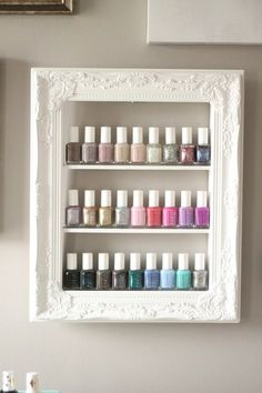White Shabby Chic Guilded Frame Custom Sized by pinkofperfect Nail polish rack n. - White Shabby Chic Guilded Frame Custom Sized by pinkofperfect Nail polish rack nail polish display n - Blanc Shabby Chic, Cocina Shabby Chic, Shabby Chic Kitchen, Shabby Chic Homes, Shabby Chic Decor, Kitchen Decor, Vintage Kitchen, Shabby Chic Salon, Bedroom Decor