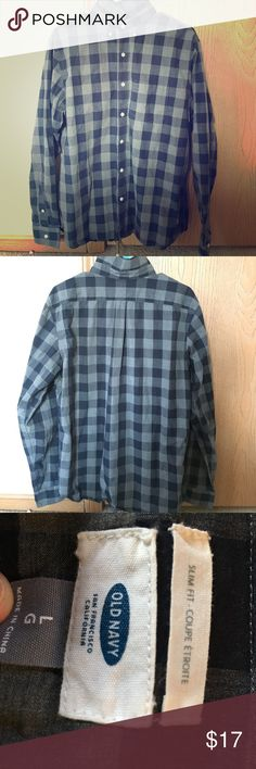 Button Down Checkered Flannel Grey/Navy Blue. Size: Large Old Navy Shirts Casual Button Down Shirts