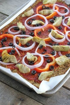 Paleo Pizza with Artichokes, Peppers & Olives Side Recipes, Paleo Recipes, Whole Food Recipes, Cooking Recipes, Dinner Recipes, Paleo Dinner, Easy Healthy Dinners, Easy Dinners, Healthy Food