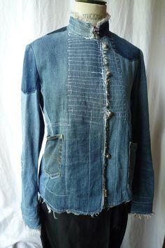 Artisanats Denim, Denim Shirt, Denim Purse, Altered Couture, Rare Clothing, Upcycled Clothing, Jean Diy, Elisa Cavaletti, Mode Jeans