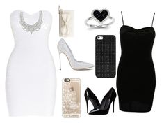 """""""Black & white ball"""" by lilypoplove ❤ liked on Polyvore featuring Hervé Léger, RED Valentino, GUESS, Casadei, Casetify, Pilot, Kevin Jewelers, Dolce&Gabbana, BaubleBar and women's clothing"""