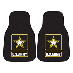 MIL - U.S. Army Black Heavy Duty 2-Piece 17 in. x 27 in. Nylon Carpet Car Mat