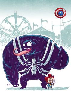 Spider-Man and Venom When They Were Kids, as Imagined by Riza Turker - What an ART