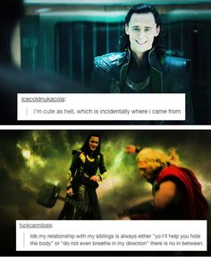 Image result for thor and loki text memes