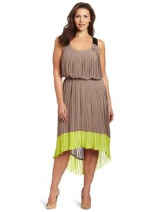 Jessica Simpson Womens Plus-size Pleated Colorblock Dress