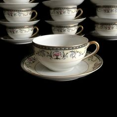 Beautiful flat tea cup and saucers from Noritake china in the Mayville pattern…