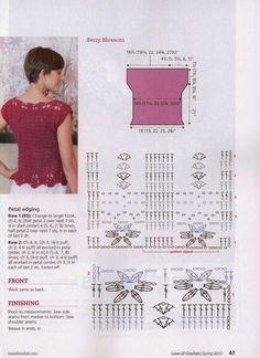 Top Jersey Detalles Crochet y Tricot - Patrones Crochet