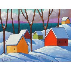PAINTING ORIGINAL Folk Art Snow Sea Modern by SoloWorkStudio, $225.00 City Folk, Funky Art, Country Art, Naive Art, Winter Scenes, Printable Art, New Art, North Coast, Original Paintings