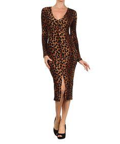 Another great find on #zulily! Brown Leopard Midi Dress - Women by Karen T. Design #zulilyfinds