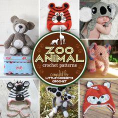 7 Wildly Fun Zoo Animal Crochet Patterns @ Little Monkeys Crochet Crochet Bebe, Crochet Baby Hats, Love Crochet, Crochet For Kids, Crochet Dolls, Crochet Round, Diy Crochet, Knitting Patterns, Crochet Patterns
