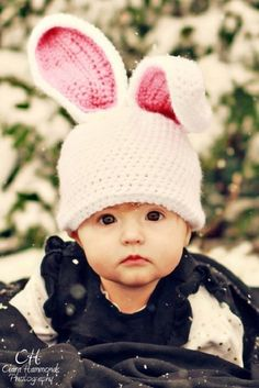 Crochet Rabbit Crochet Bunny Hat Pattern, I have to learn how to do this soon! Baby Hats Knitting, Crochet Baby Hats, Love Crochet, Knitted Hats, Boy Crochet Patterns, Basic Crochet Stitches, Crochet Rabbit, Easy Crochet Projects, Baby Boy Hats