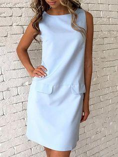 Trendy Solid Color Pocket Casual Shift Dress
