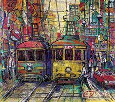 Urban trams by Zhou Chuanbin.