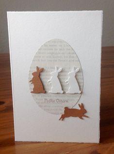 """Osterkarten mit Stanze """"Bunny Buddies"""" von poppystamps, Schriftstempel """"Frohe Ostern"""" von SU"""