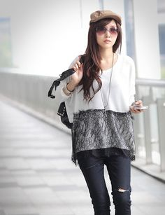 Spring Trends Splicing Lace Hem Blocking Color Batwing T-Shirt For Women (WHITE,ONE SIZE) | Sammydress.com