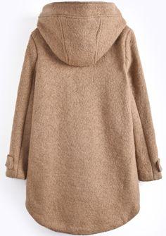 Khaki Hooded Long Sleeve Pockets Dipped Hem Coat