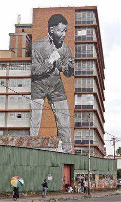 """I am Because We Are"" New Street Art Tribute to Nelson Mandela in Johannesburg, South Africa. 3d Street Art, Murals Street Art, Graffiti Murals, Art Mural, Street Art Graffiti, Street Artists, Wall Murals, Nelson Mandela, Banksy"