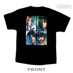 """Beatles t-shirt with 4 psychedelic shots of the Beatles in their long hair days. Back has """"The Beatles"""" in blue ink. Printed on 100% black cotton t-shirt."""