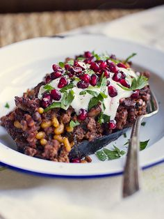 A delicious, simple dinner - Lamb Stuffed Eggplant with tzatziki and pomegranate. Georgia, Lebanese Recipes, Lebanese Cuisine, Stuffed Eggplant, Ramadan Recipes, Ramadan Food, Eastern Cuisine, Eggplant Recipes, Eggplant Dishes
