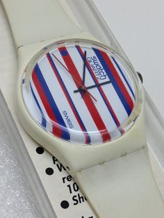 Vintage Swatch Watch Tennis Stripes GW101 1983 by ThatIsSoFunny