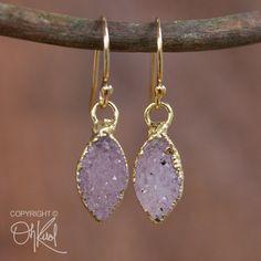 Gold Lilac Purple Druzy Teardrop Earrings 14K Gold Fill by OhKuol