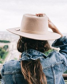 hat and denim jacket