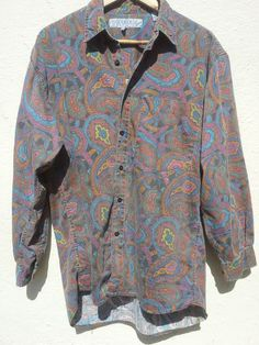 *SOLD* Vintage PAISLEY Shirt Long Sleeved WOODHOUSE MENSWEAR Size Small Oversize Unisex Early 90's Norm Core