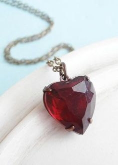 Vintage Heart Necklace Red Glass Jewel