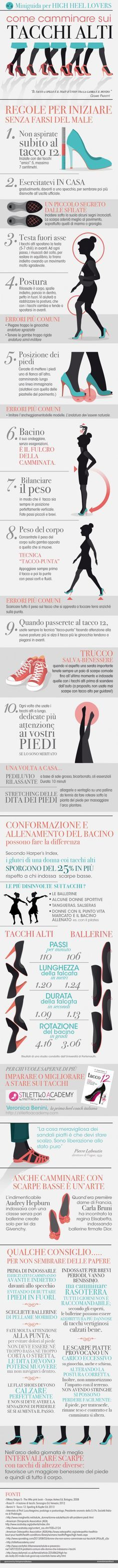 Miniguida per High Heels Lovers: come camminare - infographics designed for esseredonnaonline.it- illustrated by Alice Kle Borghi, kleland.com