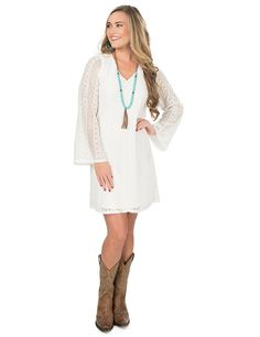 Wrangler Women's Cream Lace with Long Bell Sleeve Dress | Cavender's
