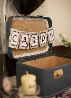 "Another ""Card"" swag option     CARDS Mini Burlap and Lace Wedding Banner"