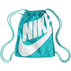 Nike Heritage Gymsack ($28) ❤ liked on Polyvore featuring bags, handbags, accessories, nike, turqoise, womens-fashion, logo drawstring bags, nike handbags, draw string bag and drawstring bag