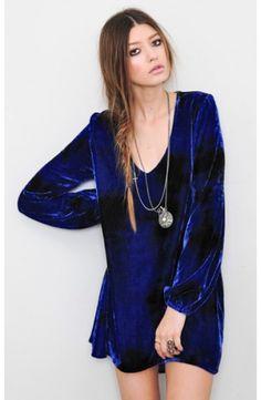 Blu Moon - V-Neck Bell Sleeve Dress - EVENING DRESSES - DRESSES #SocialBlissStyle