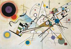 """Composição 8, 1923. Abstração de Wassily Kandinsky O abstracionismo, inaugurado por Kandinsky por volta de 1910, tem como pressuposto básico a realização de uma arte independente do mundo externo e da realidade visível, ou seja, uma obra composta apenas por elementos puros, como as formas, as linhas e as cores. Também chamado de """"arte abstrata"""", este movimento se desenvolveu em várias vertentes, até passar a ser o traço predominante de toda a produção artística realizada ao longo do século…"""
