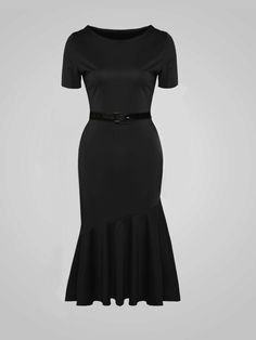 #AdoreWe #Fashionmia Fashionmia❤️Designer Womens Plain Mermaid Alluring Round Neck Bodycon Dress - AdoreWe.com