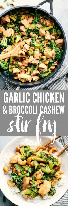 Chicken and Broccoli Cashew Stir Fry Garlic Chicken and Broccoli Cashew Stir Fry is the easiest meal to make and only requires one skillet! This meal is packed with amazing flavor and crunchy cashews and will become an instant favorite!Garlic Chicken and Chicken Broccoli Stir Fry, Skillet Chicken, Cashew Chicken, Garlic Broccoli, Asian Broccoli, Cena Paleo, Asian Recipes, Healthy Recipes, Easy Food To Make