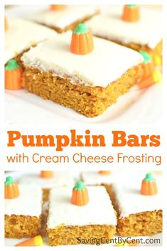 These Pumpkin Bars are delicious with a cream cheese frosting or a buttercream frosting. Canned Pumpkin Recipes, Pumpkin Cake Recipes, Pumpkin Spice Cake, Oreo Dessert, Dessert Recipes, Top Recipes, Simple Recipes, Mini Desserts, Fall Desserts