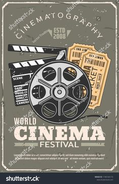 Cinema or movie festival retro poster, tickets for seance and film reel beside clapperboard. Cinematography industry and motion picture production and projecting vintage equipment, vector illustration Vintage Disney Art, Retro Vintage, Vintage Images, Preppy Stickers, Camera World, Aesthetic Photography Nature, Wall Decor Pictures, Cinema Posters, Cinema Movies