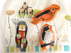 How to make fabric bird bookmarks