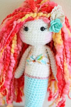 Handmade Crochet Dolls by LinaMarieDolls on Etsy  ---/  Rag doll, mermaid doll, crochet mermaid, plush doll, wool yarn, colorful doll, soft doll, handmade doll, Easter doll gift, amigurumi